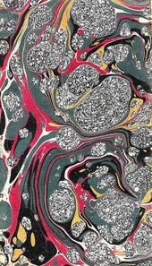 red, grey and gold spotted marbled endpaper
